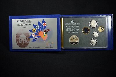 2001 Australia Centenary of Federation 6 Coin Proof Set in Box