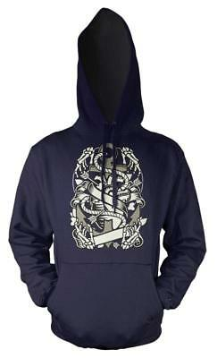 Bnwt Heart And Anchor Skeleton Hand Tattoo  Hoodie Hoody Adult  S-Xxl