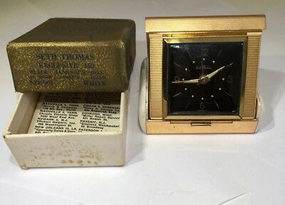 SETH THOMAS WindUp Travel Desk Alarm Clock Gold Germany For Parts Not Working