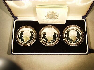 Iceland 1944 - 1994 Presidents Set, 3 Silver Coins, Frosty Proof KM-PS5