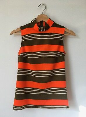 vintage 60s mod tank top / 60s striped top / mod turtleneck / xsmall - small
