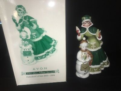 Mrs Albee Victorian Lady Vintage Dress Design Avon Figurine 2003 Snowman Green