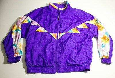 VTG 80s 90s Lavon Purple Colorful Windbreaker Size XL