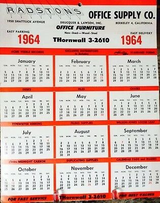 "Vintage 1964 Radston's Office Supply Co Advertising Calendar/12 Month/10.75""x13"""