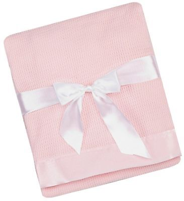 Thermal Waffle Weave Baby Blanket with Satin Nylon Trim (pink) Pink
