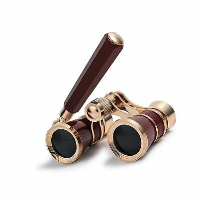 Uarter Opera Glasses Theater Vintage Binoculars With Handle Gold-Red