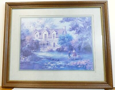 """Lee K. Parkinson 1989 Framed and Matted Print """"Country Living"""""""