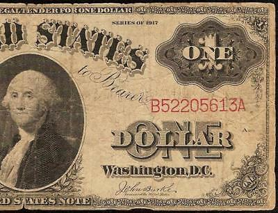 Large 1917 $1 Dollar Bill Big United States Legal Tender Note Old Paper Money