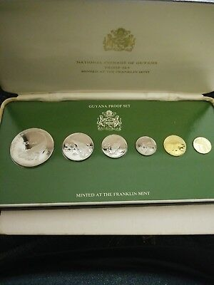 1976 Coins Of Guyana 6 Coin Proof Set With Case COA Franklin Mint