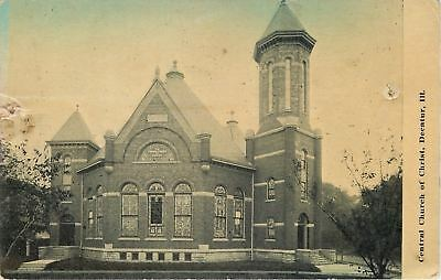 Decatur Illinois~Central Church Of Christ~Stained Glass Window View~1913 B&W PC