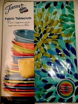 """Fiesta Calypso Floral Turquoise Fabric Tablecloth 60""""x 84"""" Oblong Homer Laughlin"""