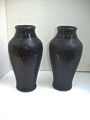 "RARE PAIR of VINTAGE JET BLACK GLASS ART DECO PATTERN VASES standing 8 1/2"" TALL"