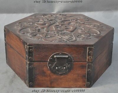 7OLD CHINESE Huanghuali Wood Unique woodgrain HandCarved Jewelry