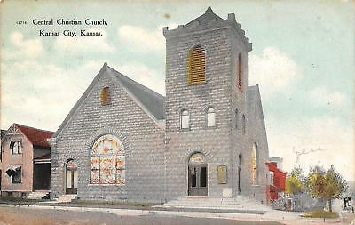 Kansas City Kansas~Central Christian Church~House Next Door~Side Street~1911 PC