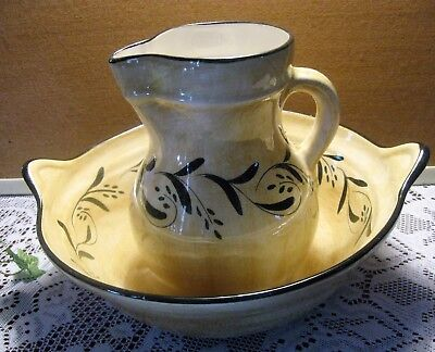 Laurie Gates Los Angeles Pottery Pitcher and Bowl