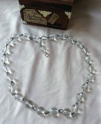 Vtg ANTIQUE Art Deco or Victorian Necklace Glass Bead Clear Crystal Choker