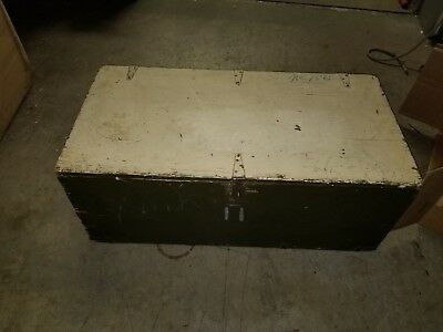 Vintage WWII US Military War Foot Locker Trunk Wood Green?