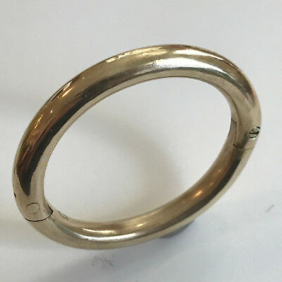 Heavy Vintage Brass Oval Bangle with Locking Screw Closure - Very Unusual