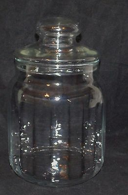 Vintage Apothecary Candy Jar Ribbed Glass Canister with Lid Storage EUC
