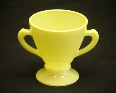 Old Vintage Ovide by Hazel Atlas Pastel Lemon Yellow Open Footed Sugar Bowl MCM