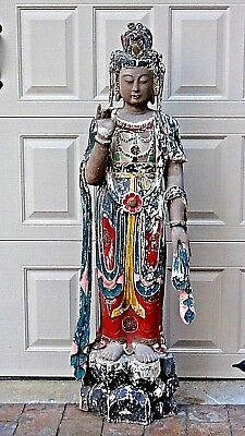 ANTIQUE 18c-19c CHINESE POLYCHROME LACQUERED WOOD CARVED CROWNED QUAN-YIN STATUE