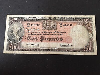 10 pounds  Coombs/Wilson 1960,   scarce banknote!