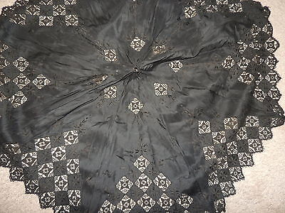 Victorian Hand Embroidered Black Silk Parasol Cover w Lace Excellent