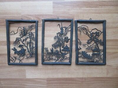 Lot of 3 Vintage Old Metal Asian Oriental ~Silhouettes~Wall Art Boat Cart Bridge