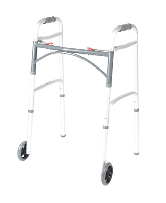 "Drive Medical 10210-1 Deluxe Two Button Folding Walker With 5"" Wheels For Senior"