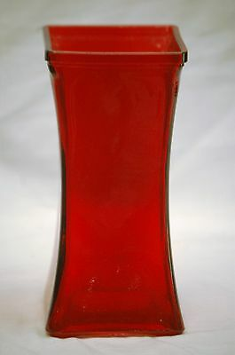 Vintage Style Ruby Red Square Tapered Glass Vase w Clear Glass Bottom Large