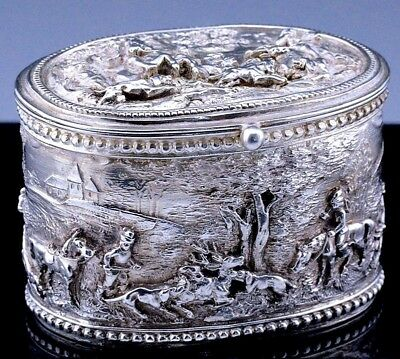EXCEPTIONAL 19thC FRENCH AMERICAN STERLING SILVER FIGURAL DESK SNUFF BOX CASE
