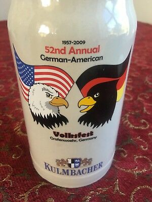Stein -volksfest Germany -52nd Annual German-american Kulmbacher 8 in high x4 in