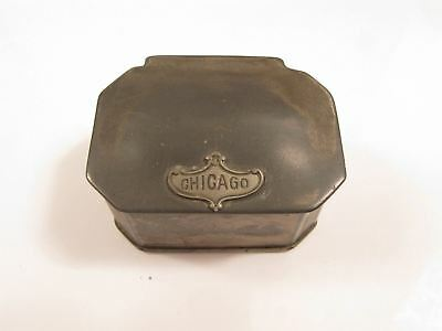 "Antique Art Deco ""Chicago"" Vintage Fabric Interior Silver Tone Jewelry Box*Y708"