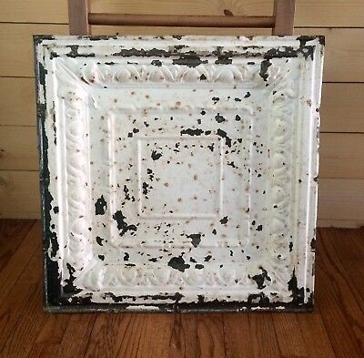 "24"" Antique Tin Ceiling Tile Panel Vtg White Metal 2' x 2' Farmhouse Wall Decor"
