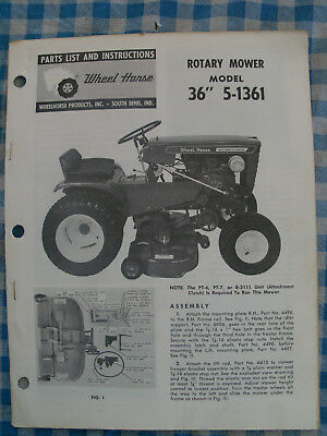 """WHEEL HORSE Parts List & Instructions Rotary Mower  36""""  5-1361"""