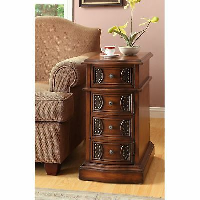 Oak Side Table Dresser Cabinent With Door Antique Old Rivit Accents Study Room