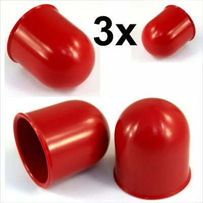 3x 50mm Red Tow Ball bar Cap Cover Towing Car Caravan Trailer Towball hitch x3