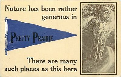 """Nature Has Been Rather Generous"" in Pretty Prairie Kansas~1910 Pennant Postcard"