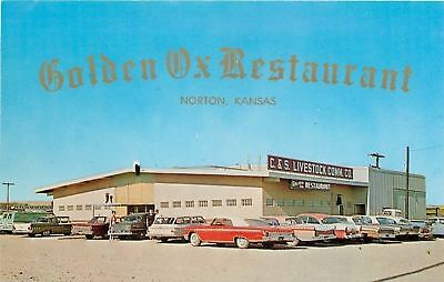 Norton Kansas~Golden Ox Restaurant~C&S Livestock~NICE!1950s Cars~Postcard