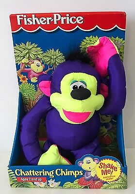 1994 Fisher Price Chattering Chimps New In Box Puffalump Plush 2851 Purple