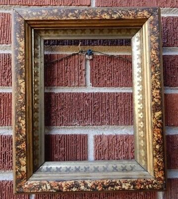Antique VICTORIAN Eastlake SMALL Faux Finish Picture Frame 6 x 8 in. fit c1870s