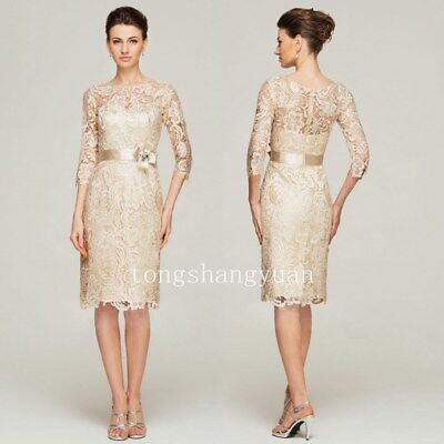 MOTHER OF THE Bride Dresses 3/4 Sleeve Lace Ivory Formal ...