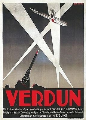 Vintage French Military History Film of Verdun WW1 Poster A3 Print