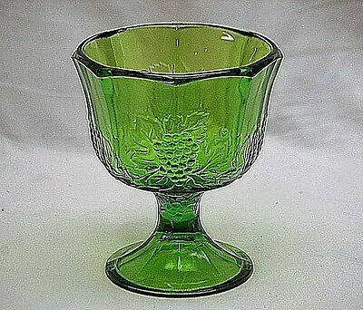Vintage Indiana Colony Glass Harvest Green Pressed Grape Design Planter Compote
