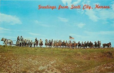 Scott City Kansas~Greetings: Squaw Den Pageant Cavalry~Horsemen On Hill~1960s PC