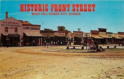 Dodge City Kansas~Boot Hill Front Street~Dry Goods~Lumber~1960s Postcard
