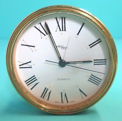 Vintage Imhof Travel Quartz Alarm Clock Swiss Made  Missing Battery Cover Runs