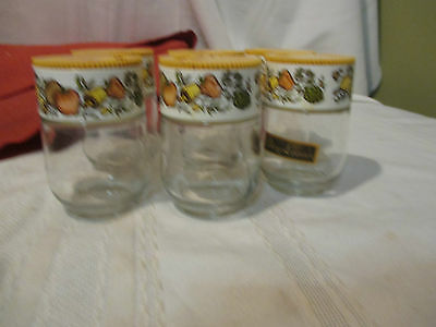 Six Corning Ware Gemco Spice Jars with Dial Lid. Vegetable Motif Theme. Vintage