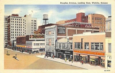 Wichita Kansas~Douglas Ave Looking East~1952 Postcard