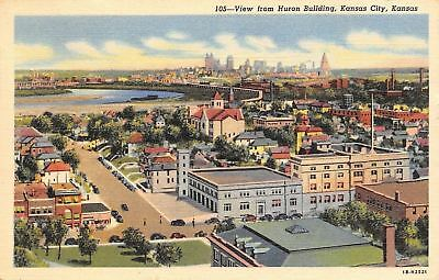 Kansas City Kansas~View From Huron Building~1953 Postcard